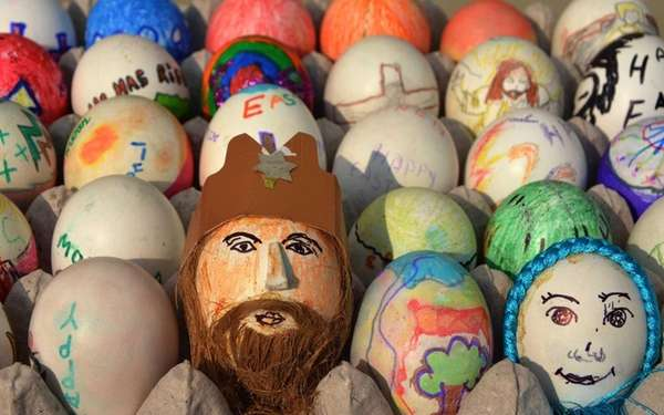 Decorative painted Easter eggs are seen at the