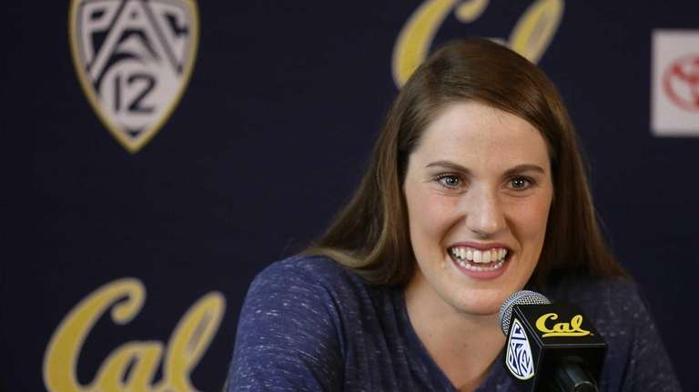 Olympic swimming gold medalist Missy Franklin gestures during