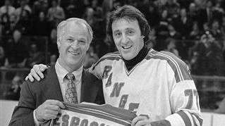 Phil Esposito, right, scored the game-winning goal 6:11