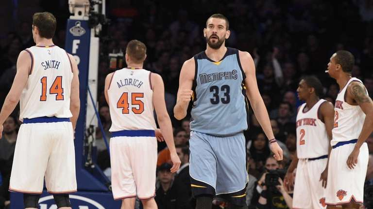 Memphis Grizzlies center Marc Gasol reacts against the