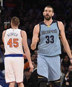 Memphis Grizzlies center Marc Gasol reacts against the