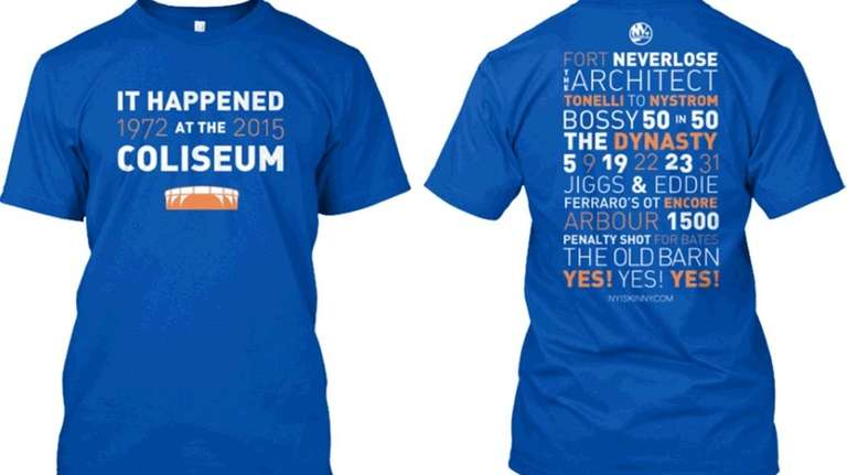 A T-shirt commemorating memorable moments in the Islanders'
