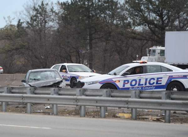 Police and emergency personnel respond to an accident