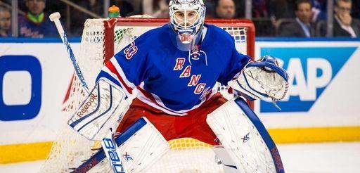 New York Rangers goalie Cam Talbot tends to