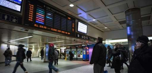 Groups waiting for LIRR trains at Penn Station