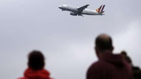A Germanwings plane takes off at the airport