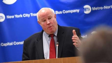 MTA Chairman Tom Prendergast holds a press conference