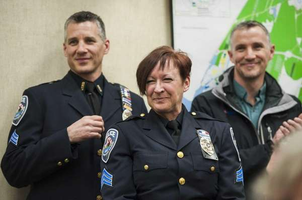Southampton Town Police Lt. Susan Ralph, center, is