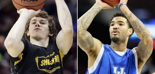 Wichita State's Evan Wessel, left, and Kentucky's Willie