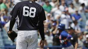 New York Yankees relief pitcher Dellin Betances walks