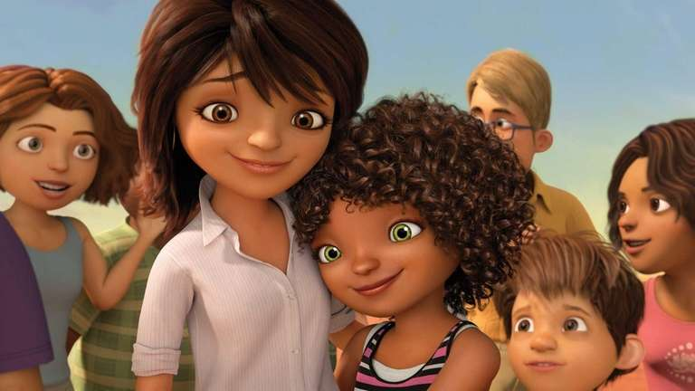 Lucy, voiced by Jennifer Lopez, left, and Tip,