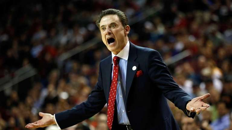 Louisville head coach Rick Pitino reacts against the