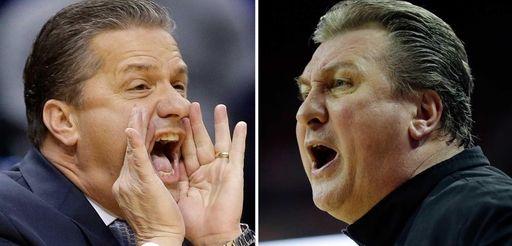 Kentucky head coach John Calipari, left, shouts instructions