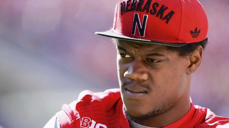 Then-Nebraska defensive end Randy Gregory wears street clothes