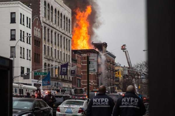 A building burns after an explosion on 2nd