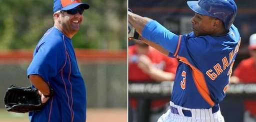 Mets batting coach Kevin Long, left, and Curtis