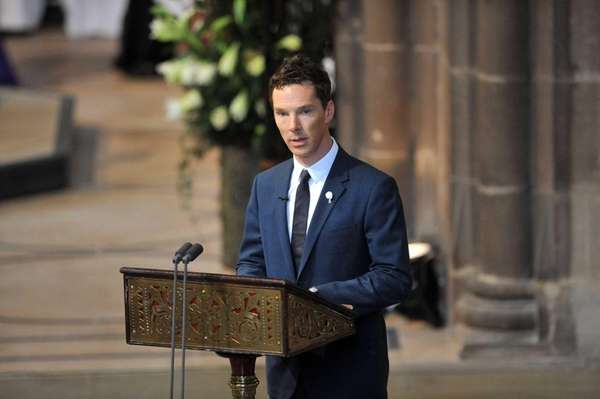 Actor Benedict Cumberbatch reads a poem during the