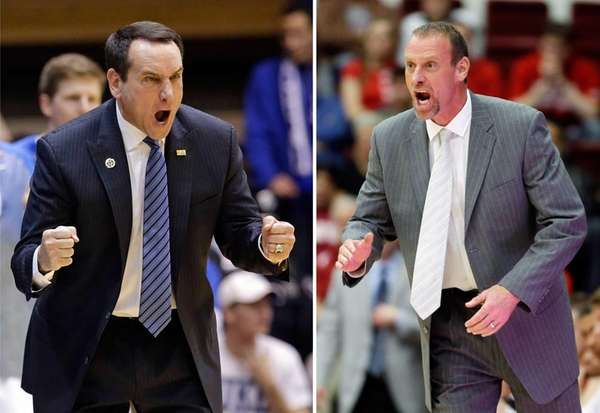Duke coach Mike Krzyzewski and Utah coach Larry