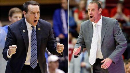 Duke coach Mike Krzyzewski and Utah coach Larry