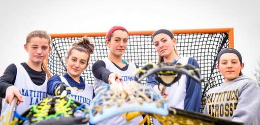 From left, Mattituck girls lacrosse player with Mackenzie