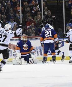 New York Islanders goalie Jaroslav Halak reacts as