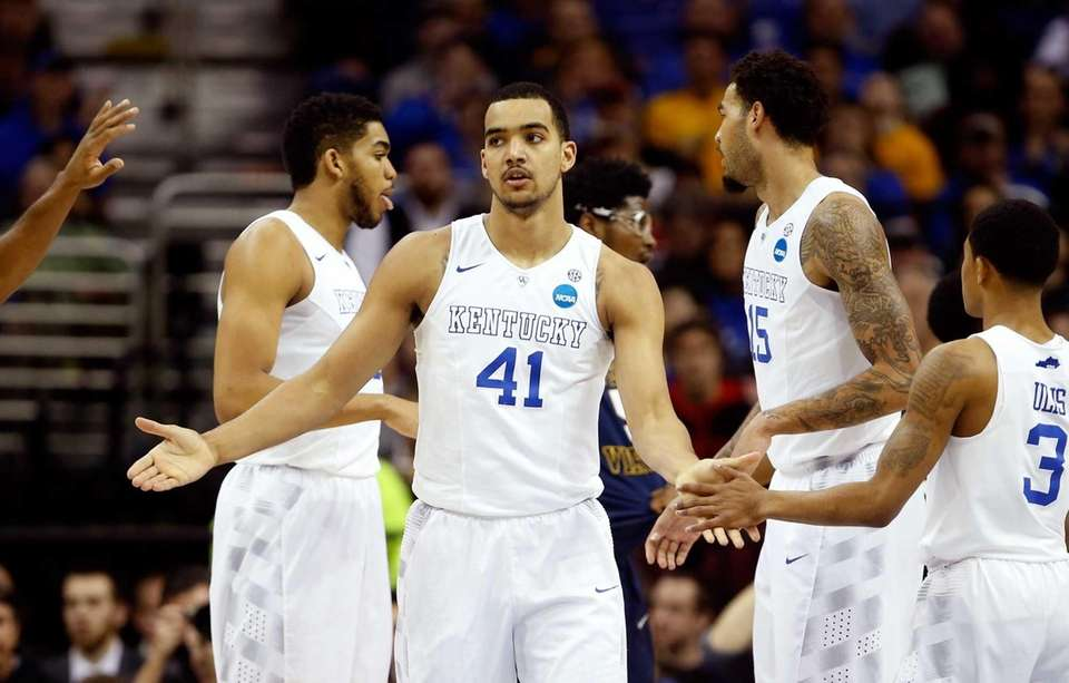 Trey Lyles of the Kentucky Wildcats reacts with