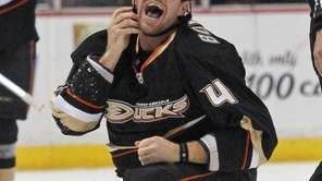Anaheim Ducks defenseman Nick Boynton smiles after getting