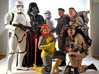 Photo of Star Wars fans and members of