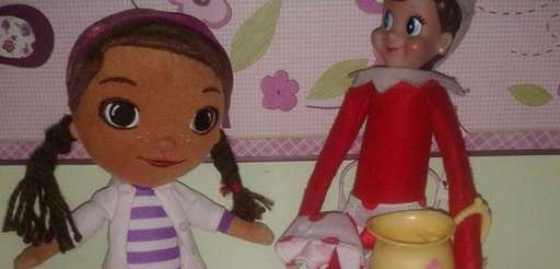 Doc McStuffins with Elf on a Shelf.