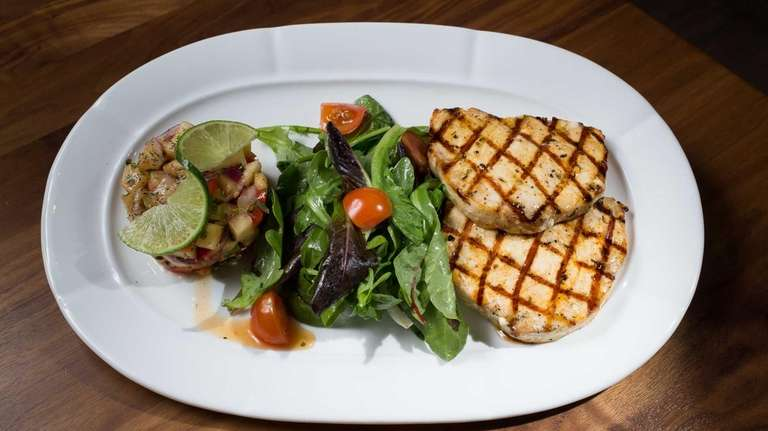 Grilled swordfish marinated in light Turkish spices is