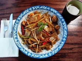 Shrimp chow fun is a tasty dish to
