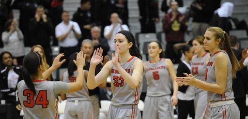 Long Island Lutheran players celebrate a 67-55 win