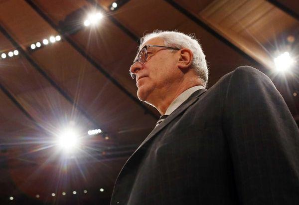New York Knicks president Phil Jackson looks on