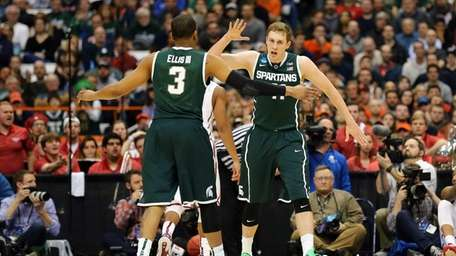Colby Wollenman of the Michigan State Spartans reacts