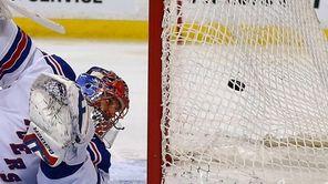 Henrik Lundqvist of the New York Rangers allows
