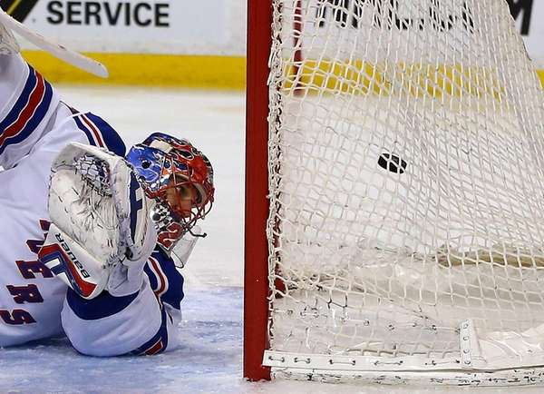 Henrik Lundqvist of the New York Rangers allows
