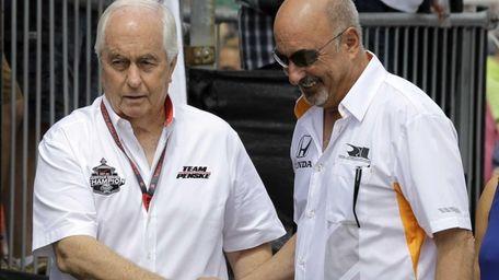 Team owners Roger Penske, left, and Bobby Rahal,