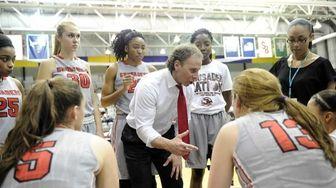 Long Island Lutheran head coach Rich Slater instructs