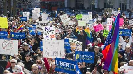Thousands of opponents to a bill that became