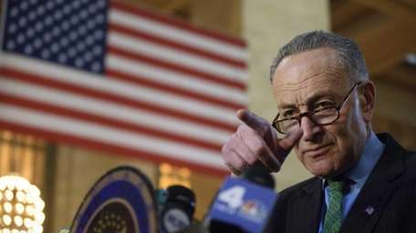 Sen. Charles Schumer holds a news conference at