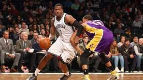 Brooklyn Nets small forward Joe Johnson #7 drives
