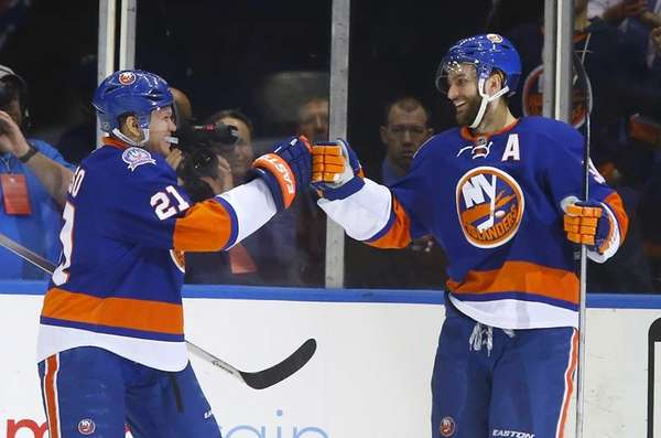 Frans Nielsen of the New York Islanders celebrates