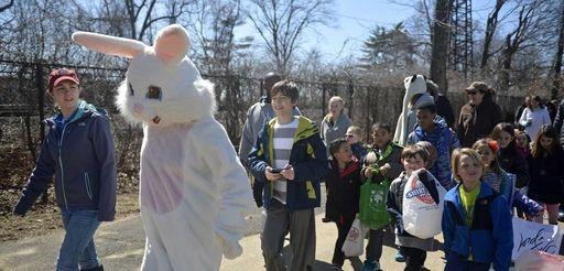 The Easter bunny, Trisha Wehr, 52, of Massapequa,