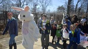 The Easter bunny, Trisha Wehr, 52, of Massapequa,