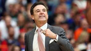 Head coach Rick Pitino of the Louisville Cardinals