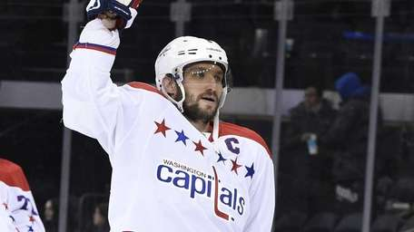 Washington Capitals left wing Alex Ovechkin celebrates the