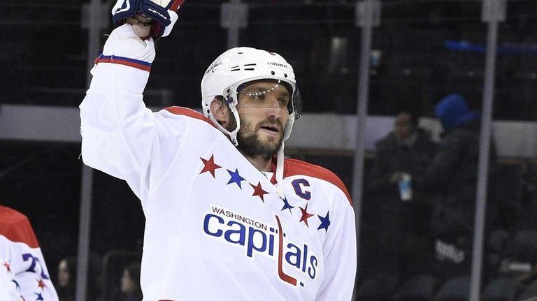 Washington Capitals left wing Alex Ovechkin celebrates the