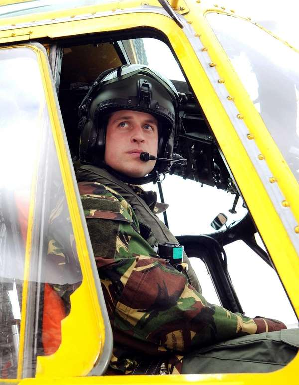 Britain's Prince William at the controls of a