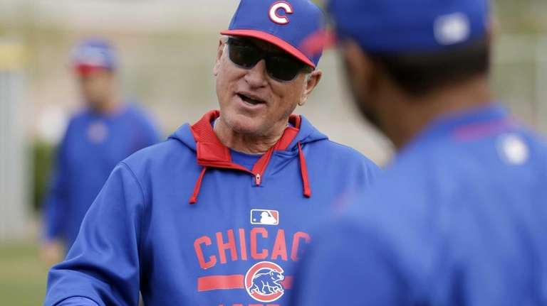 Chicago Cubs manager Joe Maddon talks during a