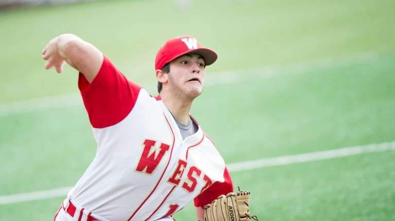 Half Hallow Hills West pitcher Bradley Camarda pitches
